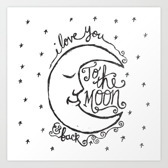 i you to the moon and back print by