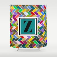 dragonball z Shower Curtains featuring Z  Monogram by mailboxdisco