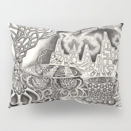 BioTechnological DNA Tree and Abstract Cityscape Pillow Sham