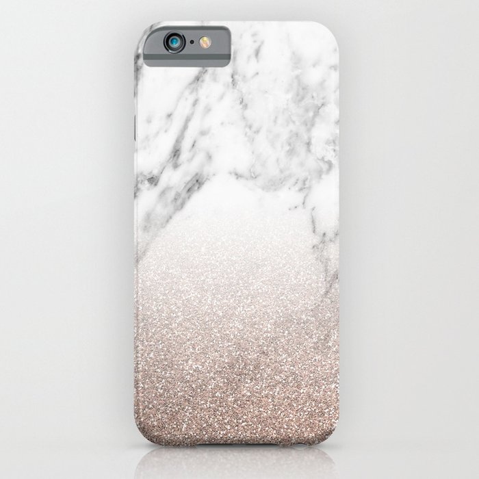marble sparkle rose gold iphone case