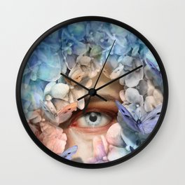 """""""Waiting for spring among blue flowers"""" Wall Clock"""