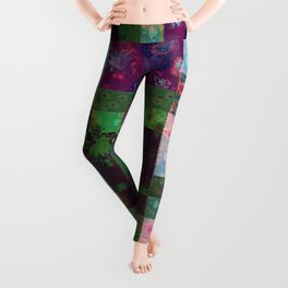 Lotus flower green and maroon stitched patchwork - woodblock print style pattern Leggings