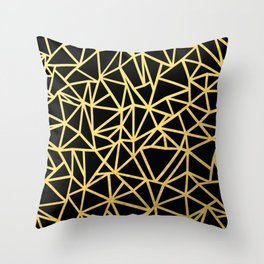 Abstract Outline Thick Gold Throw Pillow