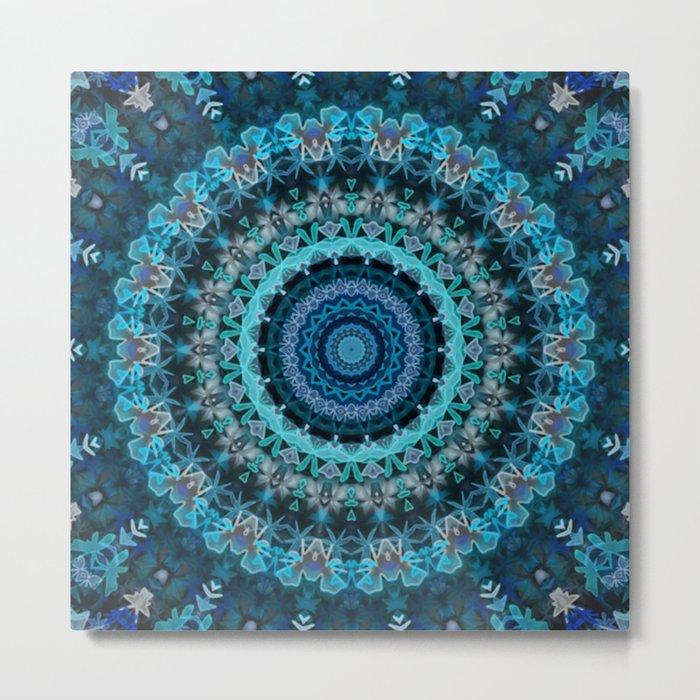 Aqua Kaleidoscope At Night Metal Print