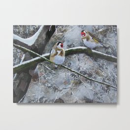 Goldfinches in the snow Metal Print