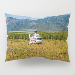 Helicopter landed in an autumn landscape Pillow Sham