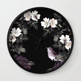 Blackberry Spring Garden Night - Birds and Bees on Black Wall Clock