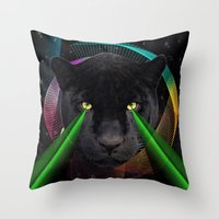 panther Throw Pillows featuring Panther by mark ashkenazi