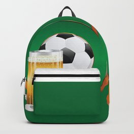 Beer and Soccer Ball in green circle Backpack