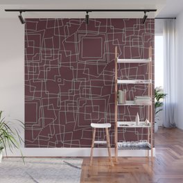 Decorative wine and grey abstract squares Wall Mural
