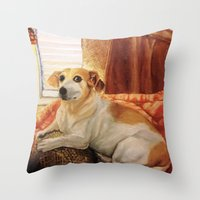 jack russell Throw Pillows featuring Jack Russell by Good Artitude