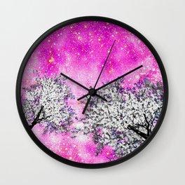 NEBULA  DREAMS TREES  PINK Wall Clock