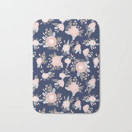 Floral bouquet pastel navy pink florals painted painted metallic pattern basic minimal pattern print Bath Mat