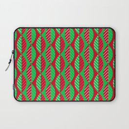 Christmas Mod Leaves in Red and Green Laptop Sleeve