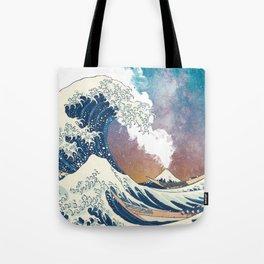 Great Wave Off Kanagawa Surrealism-Mount Fuji Eruption and Starry Sky Tote Bag