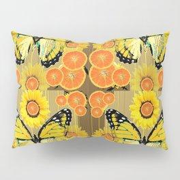 YELLOW MONARCH BUTTERFLY & ORANGES MODERN ART Pillow Sham