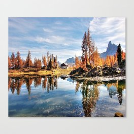 Color trees in the lake Canvas Print