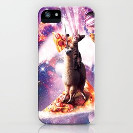 Laser Eyes Space Cat Riding On Surfing Llama Unicorn iPhone Case