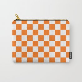 Checkered Pattern Orange and White Carry-All Pouch