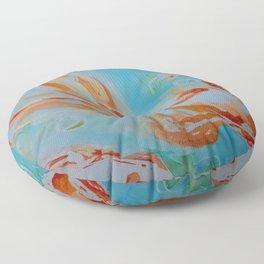 GoldFish Bubbles 1se watercolor by CheyAnne Sexton Floor Pillow