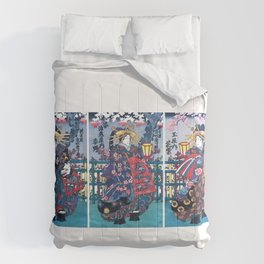 Geisha, Courtesan Shigeoka, Courtesan Sugatano, Courtesan Hanamurasaki, Restored Antique Ukiyo-e Color Japanese Woodblock Print Comforters