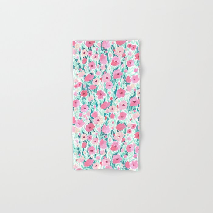 Flower Field Pink Mint Hand & Bath Towel
