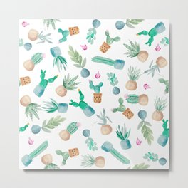 Modern cute cactus succulents watercolor pattern  Metal Print
