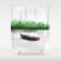 boat Shower Curtains featuring Boat by Jessielee