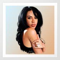 aaliyah Art Prints featuring Aaliyah #2 by Aaron Jason