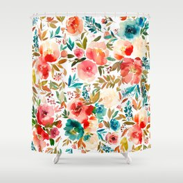 Red Turquoise Teal Floral Watercolor Shower Curtain