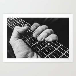 Holding an acoustic guitar Art Print