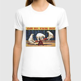 1924 Adams Brothers Circus 'Three Polar Bears' Advertisement Poster T-shirt