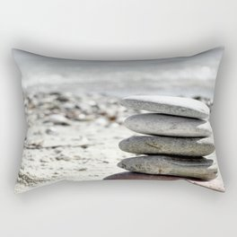 Balancing Stones On The Beach Rectangular Pillow