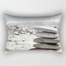 Balancing Stones On The Beach Rectangular Pillow