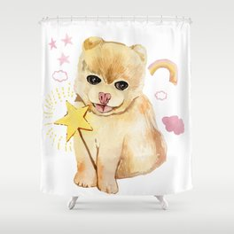 spitz sweet do with pink rainbow Shower Curtain