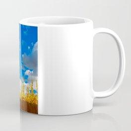 clouds+blue+yellow+fence Coffee Mug