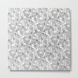 Isometric city black Metal Print