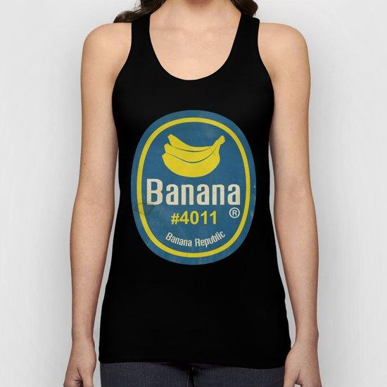 Banana Sticker On Blue Unisex Tank Top