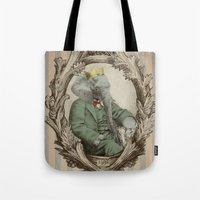 yetiland Tote Bags featuring Royal Portrait, 1931 by Eric Fan