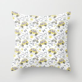 Sheep in Cars Throw Pillow