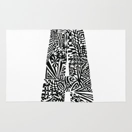 Alphabet Letter A Impact Bold Abstract Pattern (ink drawing) Rug