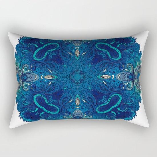 Blue Cobalt Indian Mandala Rectangular Pillow