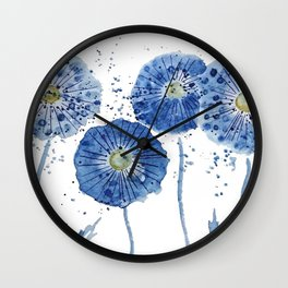 four blue dandelions watercolor Wall Clock