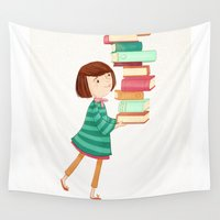 library Wall Tapestries featuring Library Girl 3 by Stephanie Fizer Coleman