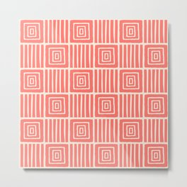 Retro Mid Century Modern Check Pattern 757 Coral and Beige Metal Print