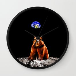 Moon Grizzly Bear  Wall Clock