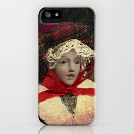 Red hat vintage Christmas doll iPhone Case