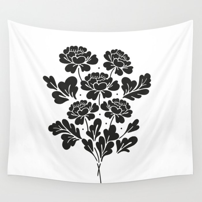 Black roses bouquet Wall Tapestry