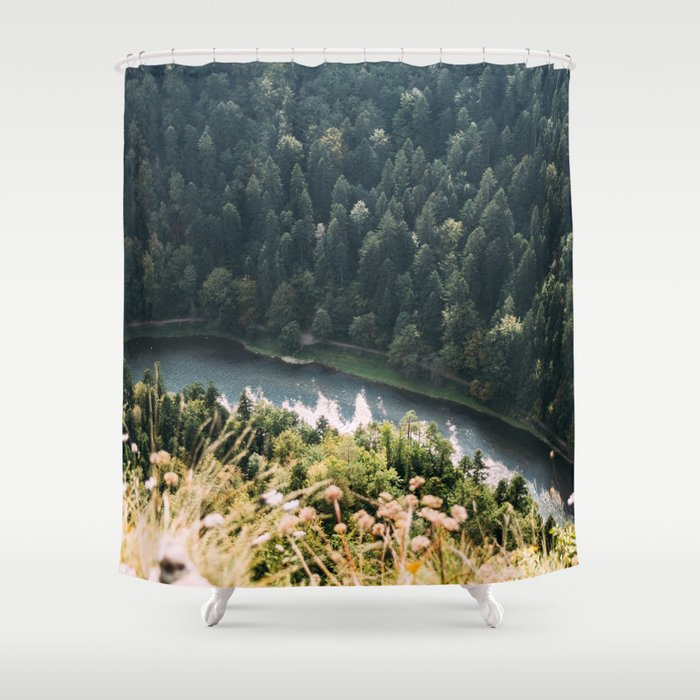 Aerial Forest River Shower Curtain By Ppolecho
