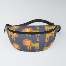 Lion Looking at a Butterfly Fanny Pack